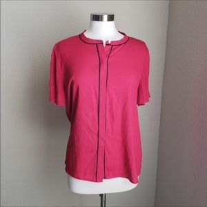 Karl Lagerfeld pleated Short Sleeve Red Blouse